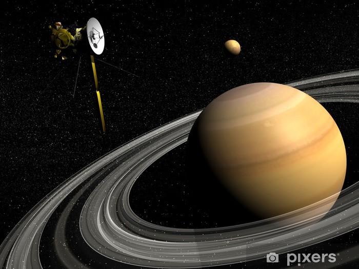 Papier peint vinyle Cassini près de Saturne et Titan satellite - Rendu 3D - Planètes