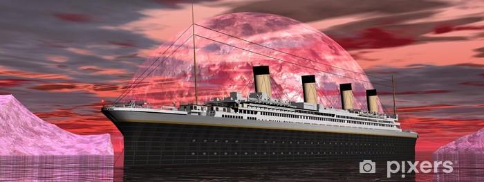 Papier peint vinyle Titanic bateau au coucher du soleil - rendu 3D - Thèmes