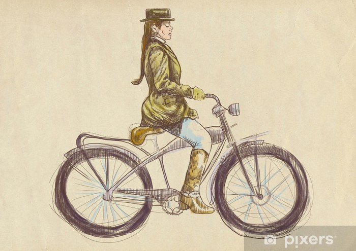 weighted lady on bike - a hand drawn illustration Vinyl Wall Mural - Themes