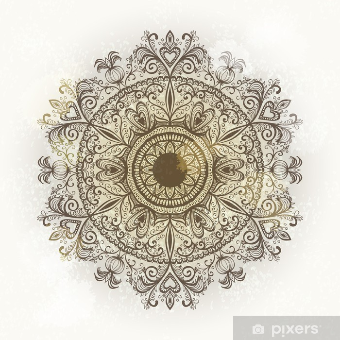 Grunge hand drawn circular floral ornament. Eps10 Vinyl Wall Mural - Themes