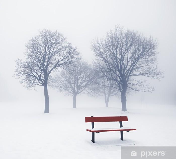 Fototapeta winylowa Zimowe drzewa i ławki w mgle - Tematy