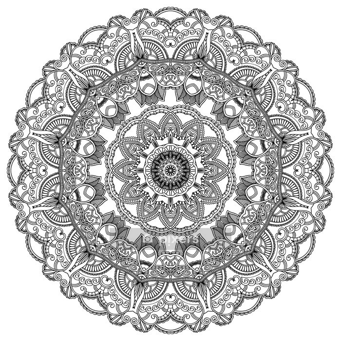 Black lace circle on white background. Ornamental mandala Wall Decal - Wall decals