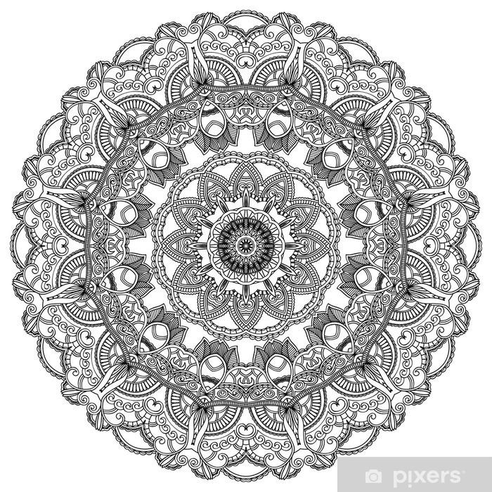 Sticker Pixerstick Cercle de dentelle noire sur fond blanc. Ornement mandala - Sticker mural
