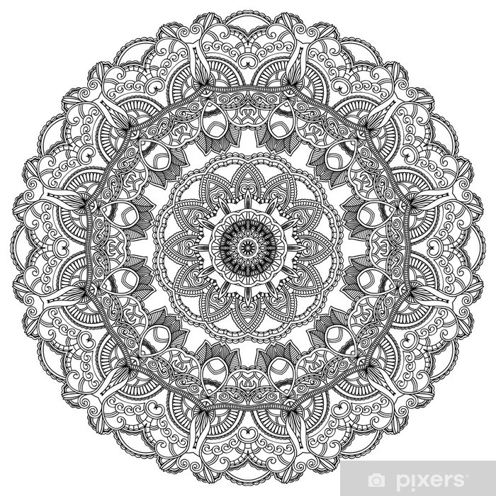 Black lace circle on white background. Ornamental mandala Vinyl Wall Mural - Wall decals