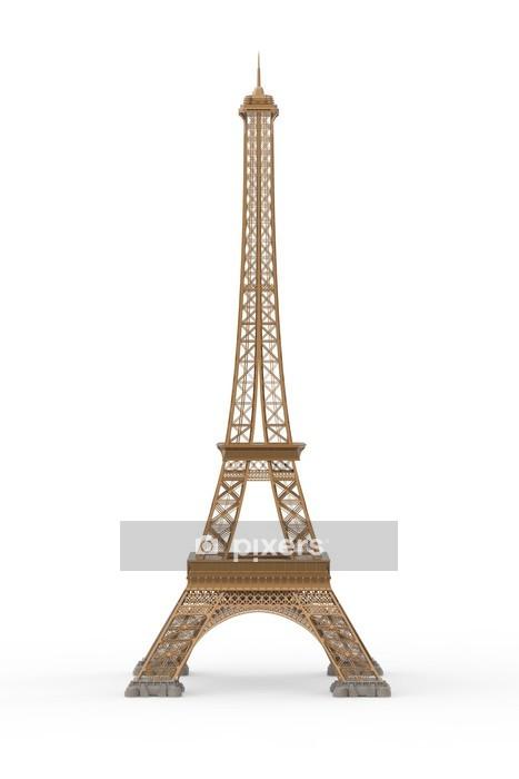 Adesivo da Parete Torre Eiffel isolato su sfondo bianco - Città europee