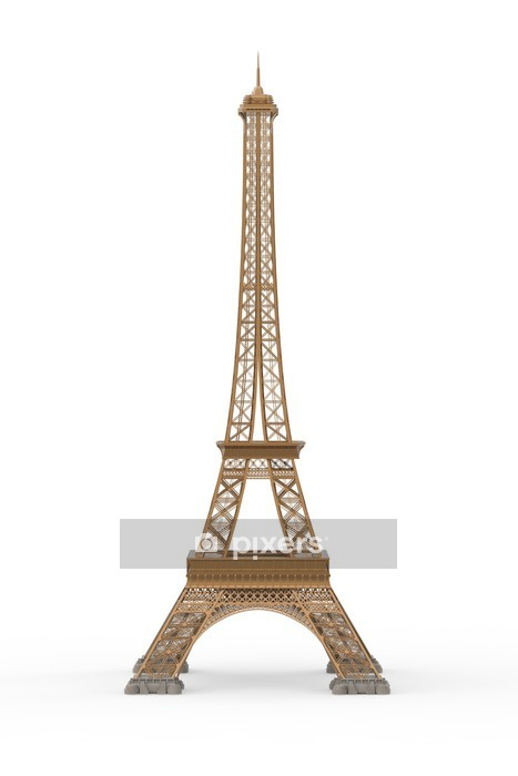 Eiffel Tower Isolated on White Background Wall Decal - European Cities