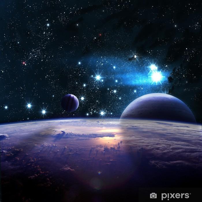 Plakat w ramie Planety ponad mgławic w przestrzeni - Wszechświat