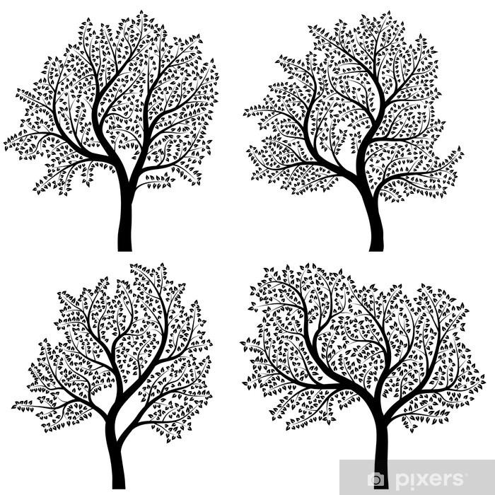 Naklejka Pixerstick Abstrakt sylwetki drzew z liśćmi. - Sztuka i twórczość