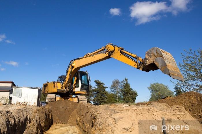 excavator digging sewer trenche Pixerstick Sticker - Heavy Industry