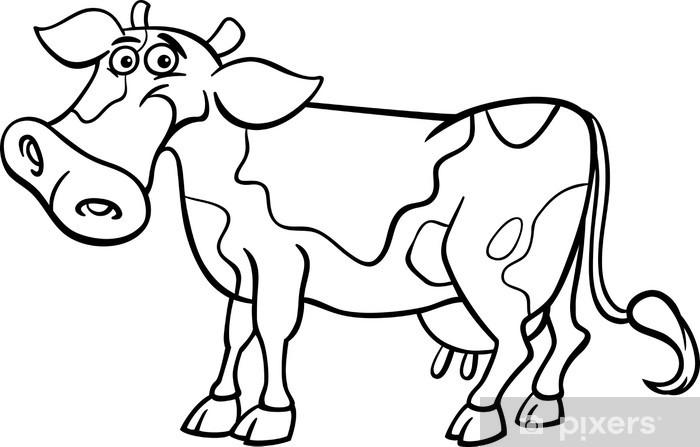 Fototapeta Cartoon krowa na kolorowanka • Pixers® - Żyjemy by zmieniać