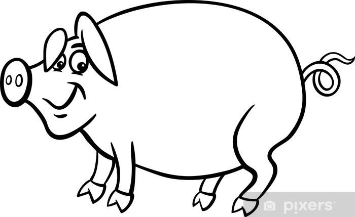 Fotomural Dibujos animados granja de cerdos de libro para colorear ...