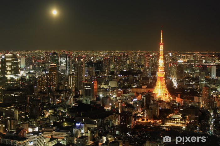 Vinilo Pixerstick Tokyo Night View, Japón - Asia