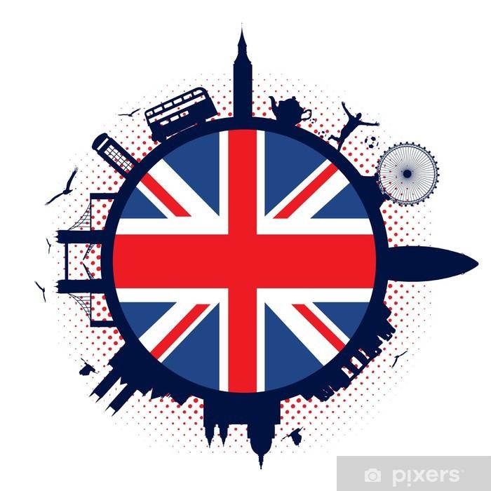 Plakat Wielka Brytania flaga i sylwetki - Znaki i symbole