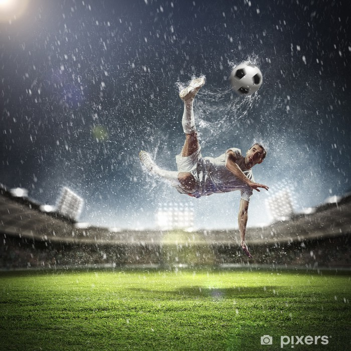 football player striking the ball Poster - iStaging