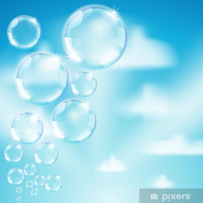 Papier peint vinyle Des bulles de savon sur ciel fond - Arrière plans