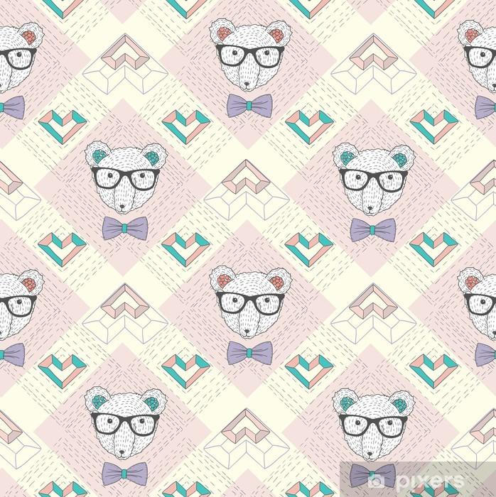 Poster Nahtlose Muster mit hipster Eisbär und Herzen. Nette backgr - Lifestyle