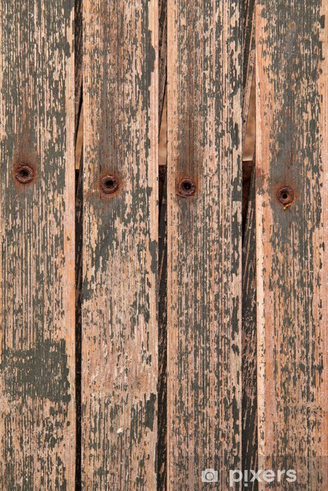 Background Texture abstract - wood, rivets, peeling paint. Vinyl Wall Mural - Wonders of Nature