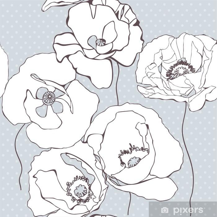 Sticker Pixerstick Seamless avec des fleurs de pavot sur fond gris - Styles