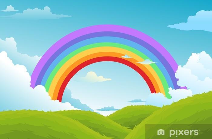 Fotomural Estándar Arco iris y nubes en el cielo de fondo vector - Naturaleza y zonas salvajes