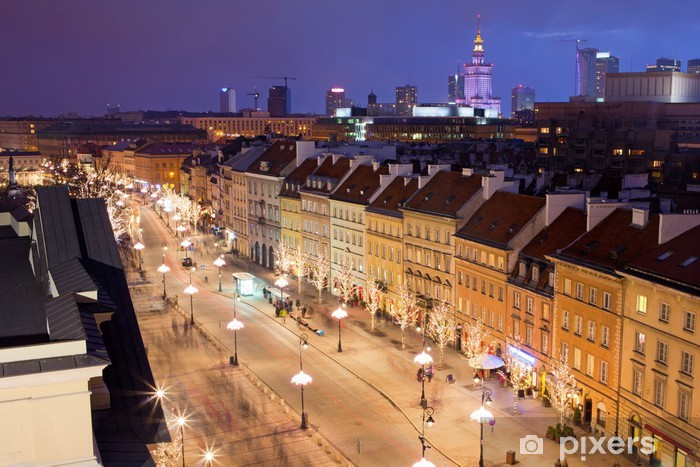 Papier peint vinyle Varsovie dans la nuit - Thèmes