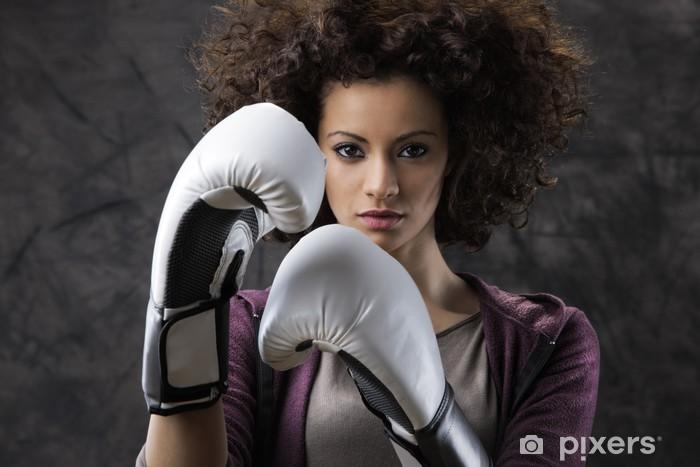 Sticker Pixerstick Femme de boxe - Thèmes