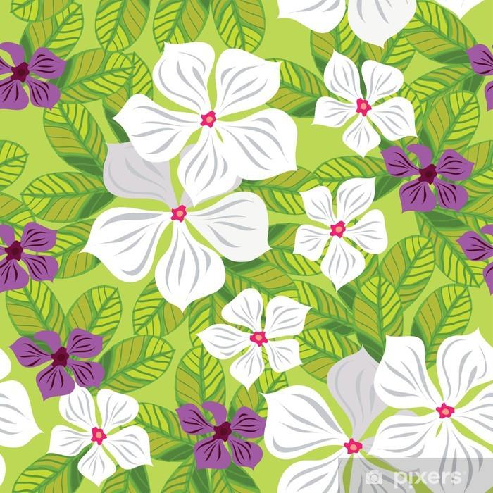 Fotomural Patron Floral Sin Fisuras Con Flores Blancas Dibujo A