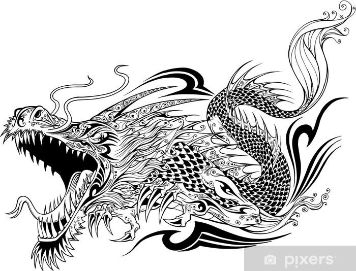 Dragon Doodle Sketch Tattoo Vector Vinyl Wall Mural - Wall decals