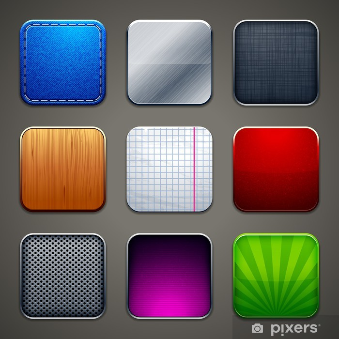 Vinyl Fotobehang Hoog gedetailleerde achtergronden voor apps iconen - Texturen