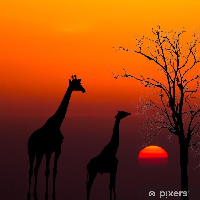 Vinyl Fotobehang Silhouetten van Giraffen en dode boom tegen zonsondergang achtergrond - Thema's
