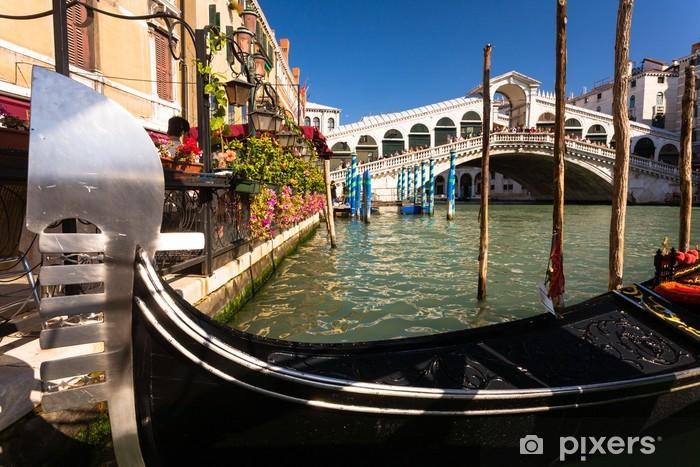 Naklejka Pixerstick Most Rialto Grand Canal i Gondola - Miasta europejskie