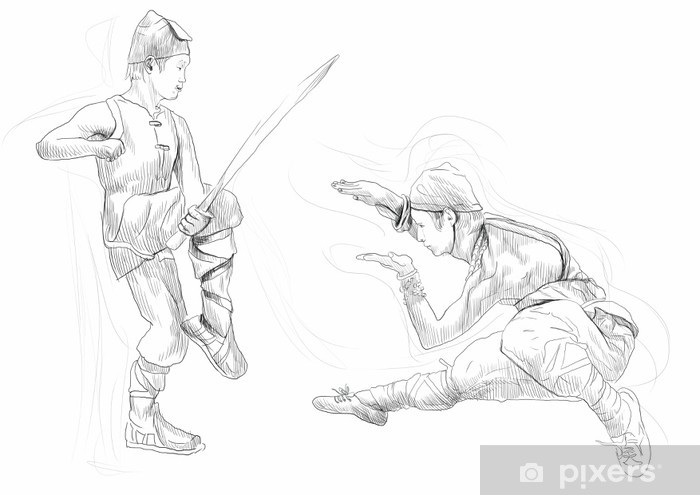 Sticker Pixerstick Kung Fu, art martial chinois. / / / Une main illustration tirée - Sports extrêmes