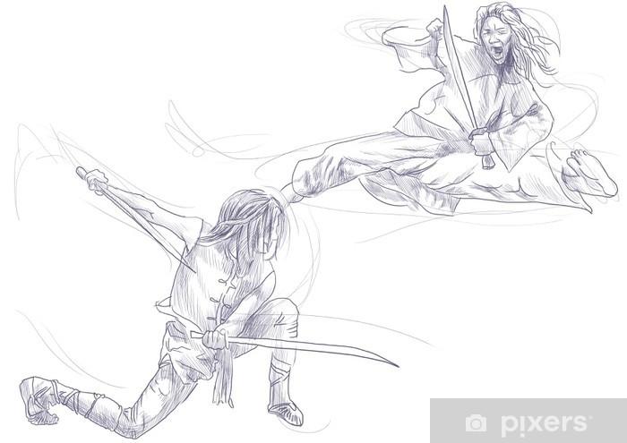 Vinilo Pixerstick Kung Fu, el arte marcial chino. / Dibujado / / Una mano ilustración - Deportes extremos