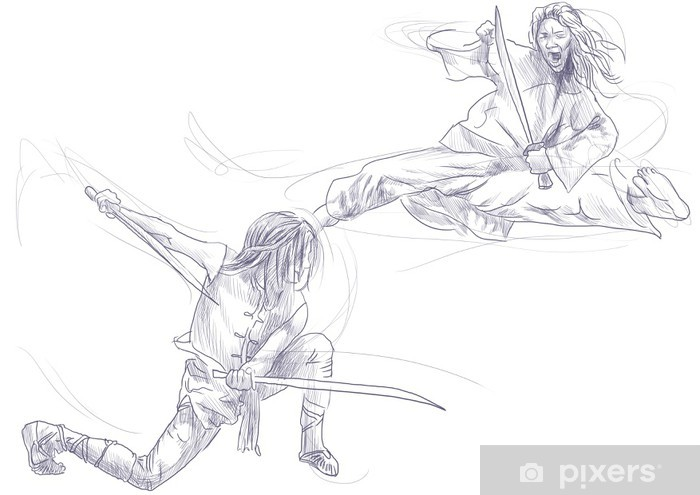 Kung Fu, Chinese martial art. /// A hand drawn illustration Vinyl Wall Mural - Extreme Sports