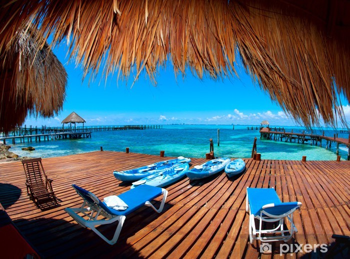 Vacation in Tropic Paradise. Isla Mujeres, Mexico Pixerstick Sticker - Themes