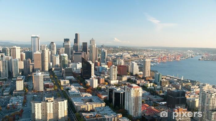 Sticker Pixerstick Seattle skyline avec vue sur Mt.Rainier dans la casserole à distance - Villes américaines