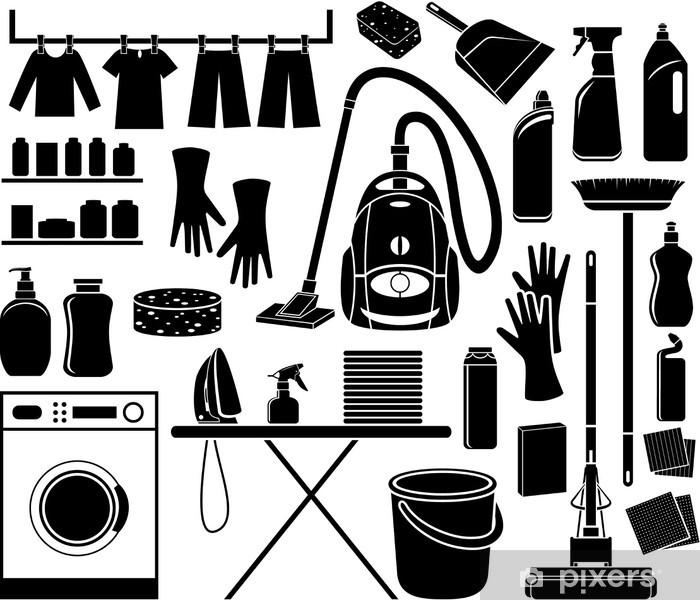 Sticker Pixerstick Ensemble de nettoyage de l'icône - Maisons et jardins