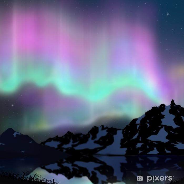 aurora over lake Self-Adhesive Wall Mural - Wonders of Nature