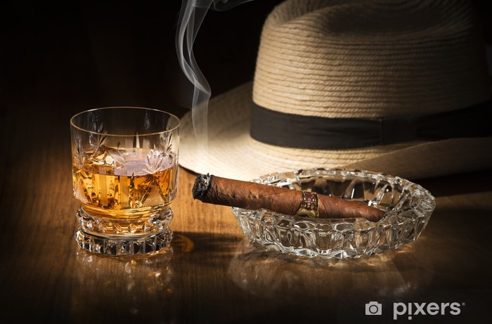 Whiskey and cigar Pixerstick Sticker - Alcohol