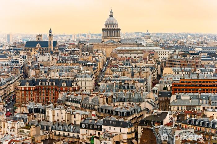 Papier Peint Vue De Paris Avec Le Panthéon Au Coucher Du Soleil