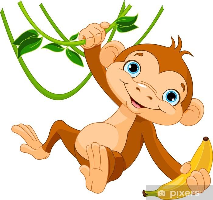 Fototapeta winylowa Dziecko małpa na drzewie - Naklejki na ścianę