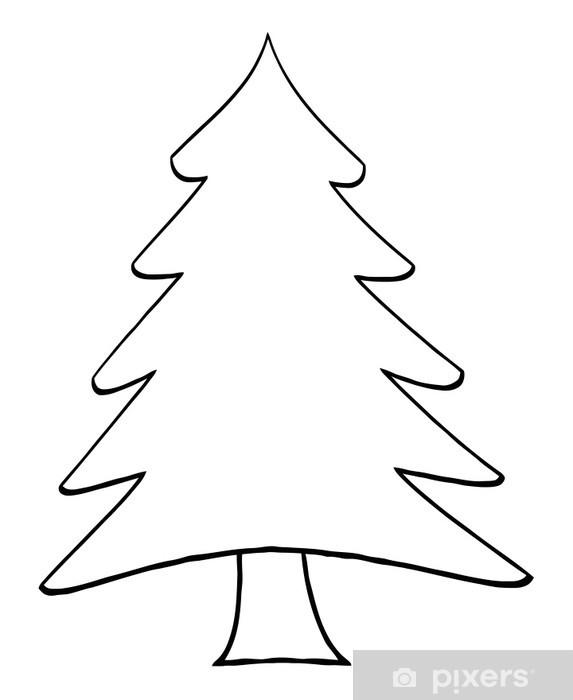 Outline Cartoon Christmas Tree Sticker , Pixerstick