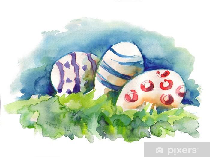 Vinylová fototapeta Akvarel velikonoční vajíčka - Vinylová fototapeta