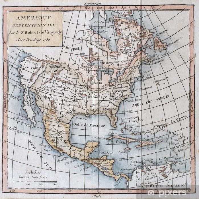 Papier peint vinyle Nord ancienne originale Amérique carte - Thèmes