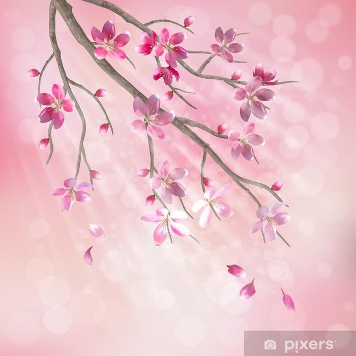 Vinilo Pixerstick Vector Primavera rama de un árbol de cerezo flor de las flores - Manzanos