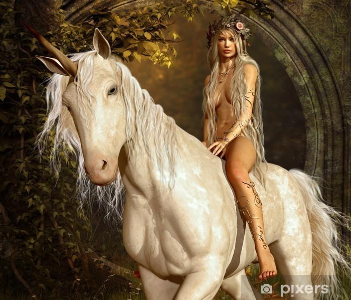 Maiden og Unicorn Pixerstick klistermærke -