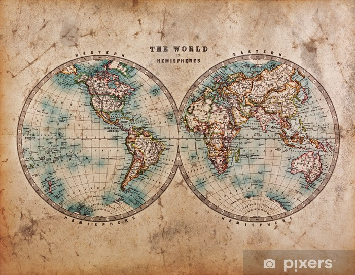 Old World Map in Hemispheres Laptop Sticker - Themes