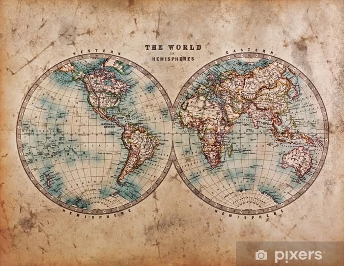 Laptop Sticker Oude Kaart van de Wereld in Hemisferen - Thema's