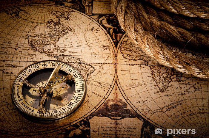old compass and rope on vintage map 1752 Self-Adhesive Wall Mural - Themes