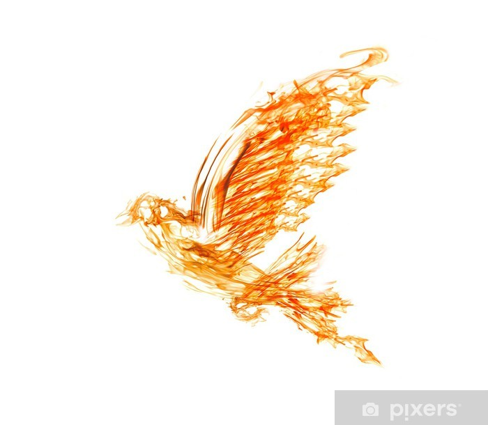 flame flying dove on white Pixerstick Sticker - Textures
