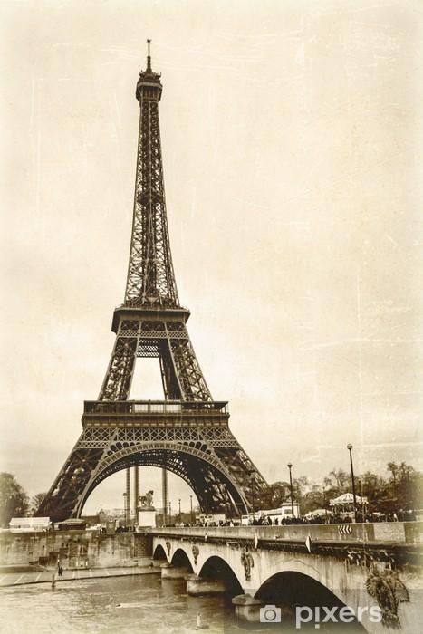 Naklejka Pixerstick Wieża Eiffla sepia efekt starego zdjęcia pocztówka - Style